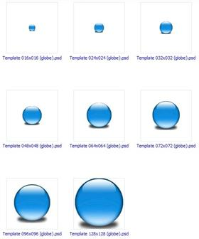 Photoshop Template 16x16 to 128x128 (globe)
