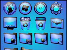 ELECTRIC BLUE DOCK ICONS