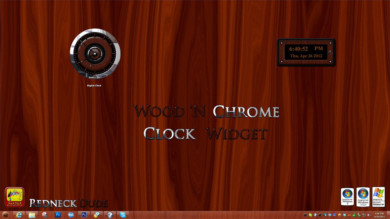 Wood 'N Chrome Clock Widget