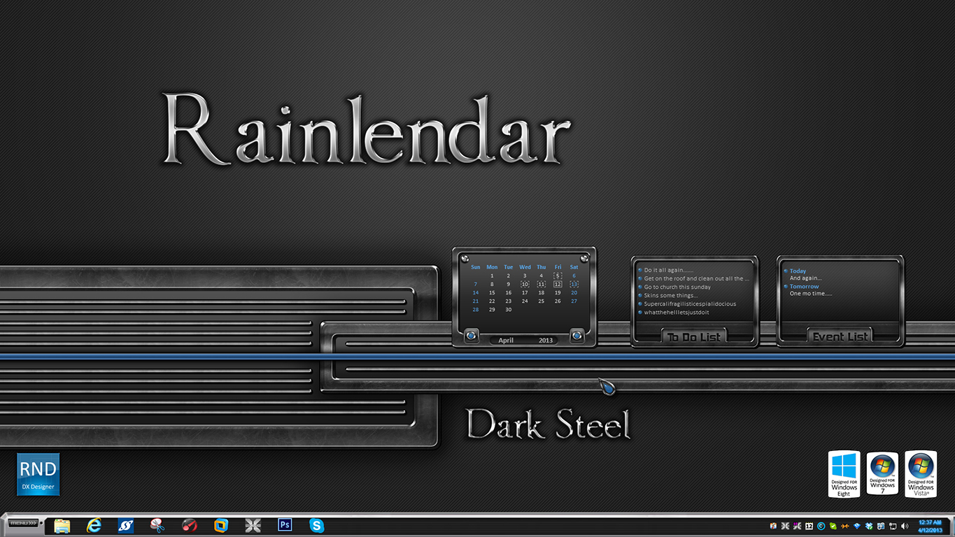 Dark Steel Rainlendar