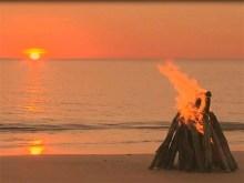 campfire on shore