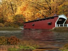 Covered Bridge In Autumn LV
