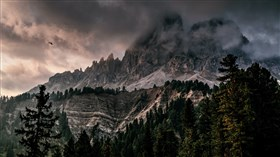 Mountain with Dark Clouds and Ice